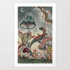Mushroom Moon Art Print