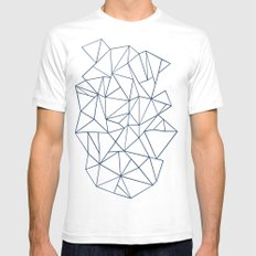 Abstraction Outline Navy SMALL Mens Fitted Tee White