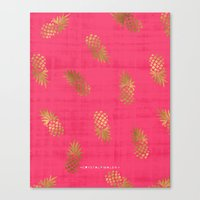 Gold Pink Paradise Pineapples Canvas Print