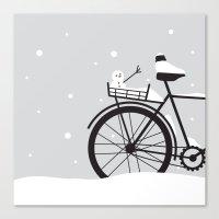 Bicycle & snow Canvas Print
