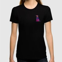 Psychedelic Dog Womens Fitted Tee Black SMALL