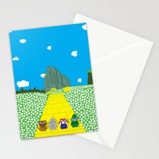 Pengwins that are following a brick road that is yellow Stationery Cards