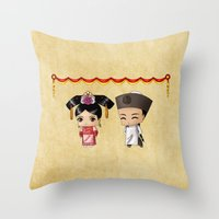 Chinese Chibis Throw Pillow