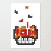 Super Mario Mushroom Tetris Canvas Print