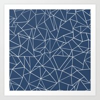 Abstraction Outline Navy Art Print