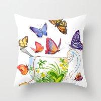 Butterfly Tea Throw Pillow