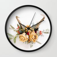Floral Antlers IV Wall Clock