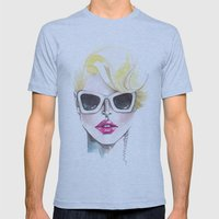 Blonde Chic Mens Fitted Tee Athletic Blue SMALL
