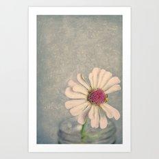 Zinnia Flower Still Life Painterly Art Print