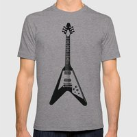 Guitar blk Mens Fitted Tee Athletic Grey SMALL