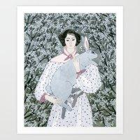 Girl And Rabbit Among Fl… Art Print