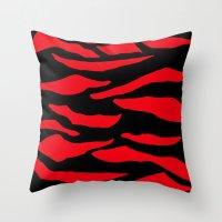 Red Zebra Print Throw Pillow