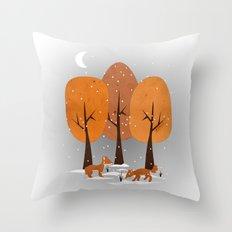 Winter Foxes Throw Pillow
