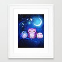 Night Owls & Fairy Lante… Framed Art Print