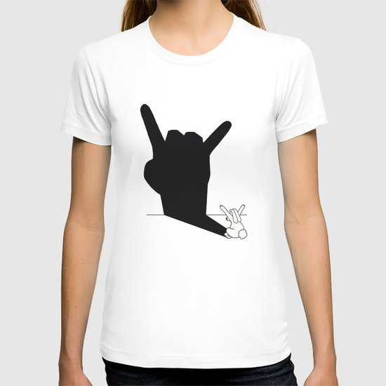 Rabbit Rock and Roll Hand Shadow T-shirt
