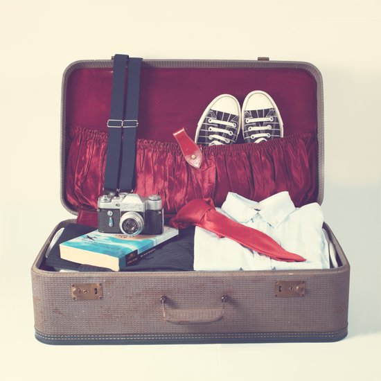 Vintage Journey Suitcase (His) (Retro and Vintage Still Life Photography) Art Print