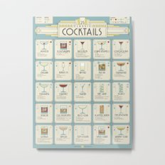 Art Deco Cocktail Recipe Poster Metal Print