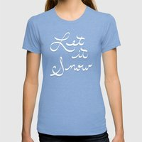 Let It Snow - Plaid Womens Fitted Tee Tri-Blue SMALL