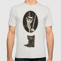 Puss in Boots Mens Fitted Tee Silver SMALL