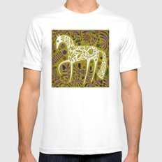 FLOWER HORSE SMALL Mens Fitted Tee White