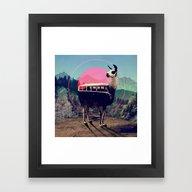 Framed Art Print featuring Llama by Ali GULEC