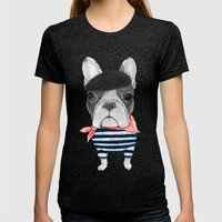 French Bulldog. Womens Fitted Tee Tri-Black SMALL