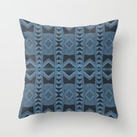 Blue Doodle Geometry  Throw Pillow