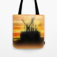 Silhouette Of A Ship Tote Bag