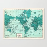 World Map in Teal Canvas Print