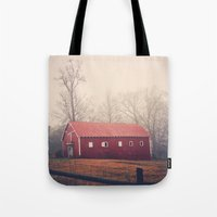 Little Red Barn in the Fog Tote Bag