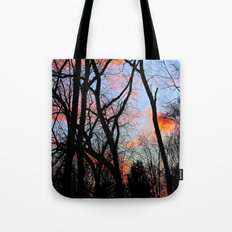 Sunset Through the Tangled Trees Tote Bag
