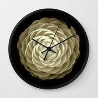 cream camelia on black background Wall Clock