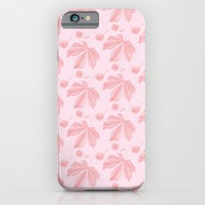Horse Chestnut leaf and conker pale pink pattern iPhone 6 Slim Case