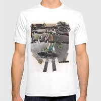 Strange Angels | Collage Mens Fitted Tee White SMALL