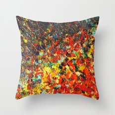 END OF THE RAINBOW - Bold Multicolor Abstract Colorful Nature Inspired Sunrise Sunset Ocean Theme Throw Pillow