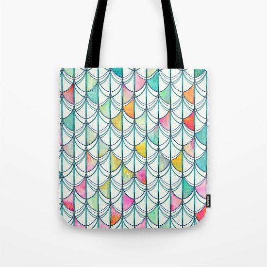 Pencil & Paint Fish Scale Cutout Pattern - white, teal, yellow & pink Tote Bag