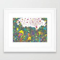 ハートのしゃぼんだま Framed Art Print