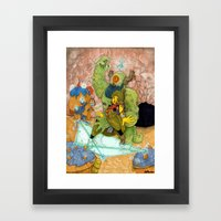 Quick Knight Smoke! Save Ochtlipat from the Cyclops' Teleportamid! Framed Art Print