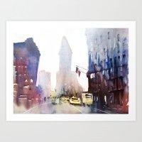 New York - Taxis Art Print