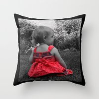 Sitting Red Dress Throw Pillow