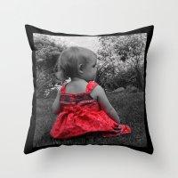 Sitting Red Dress Throw Pillow