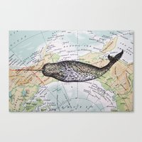 Narwhal in the Arctic Canvas Print