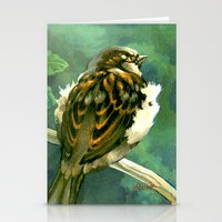 Sparrow in Puriri Tree Stationery Cards