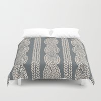Cable Knit Grey Duvet Cover