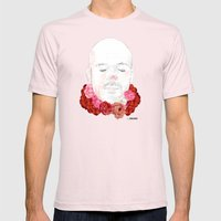 Flowered Mens Fitted Tee Light Pink SMALL