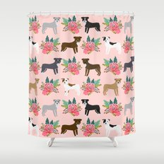 Pitbull Terrier flowers cute dog art pet portraits custom dog breed must have pitbull owner gifts  Shower Curtain