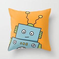 Friendly Blue RObot Throw Pillow