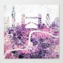 LONDON Skyline + map Canvas Print