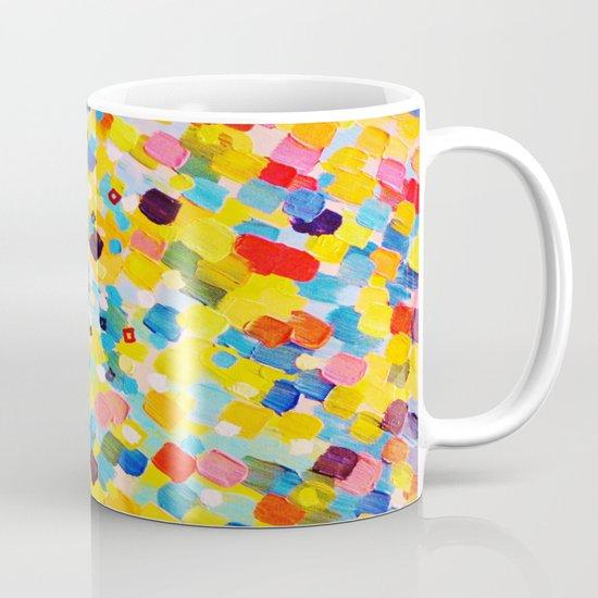 SWEPT AWAY 2 - Vibrant Colorful Rainbow Mango Yellow Waves Mermaid Splash Abstract Acrylic Painting Mug