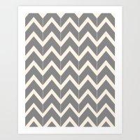 Gray & Ivory Chevron Art Print